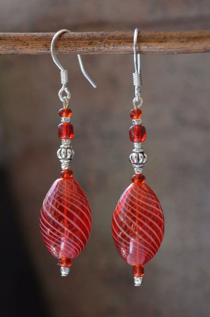 Red Glass Beaded Earrings