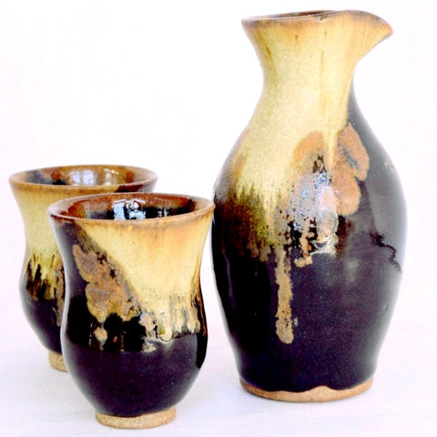 sake set, handcrafted ceramic set of three