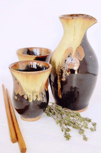 ceramic sake set, handcrafted gift set