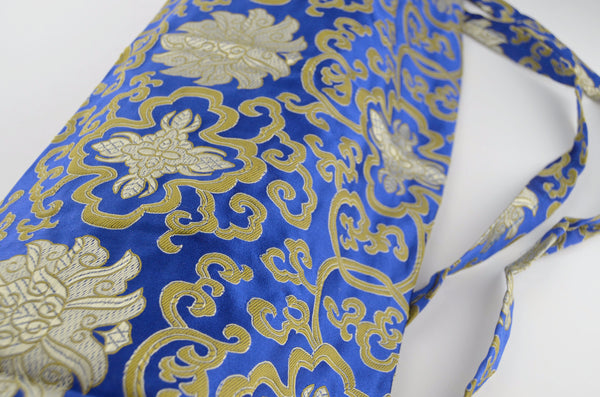 silk brocade yoga mat bag, blue fabric detail