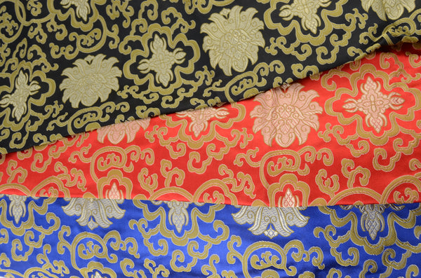 red, blue, and black silk brocade yoga mat bags