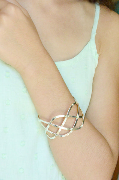 Silver Weave Cuff Bracelet Handcrafted in Mexico on Model