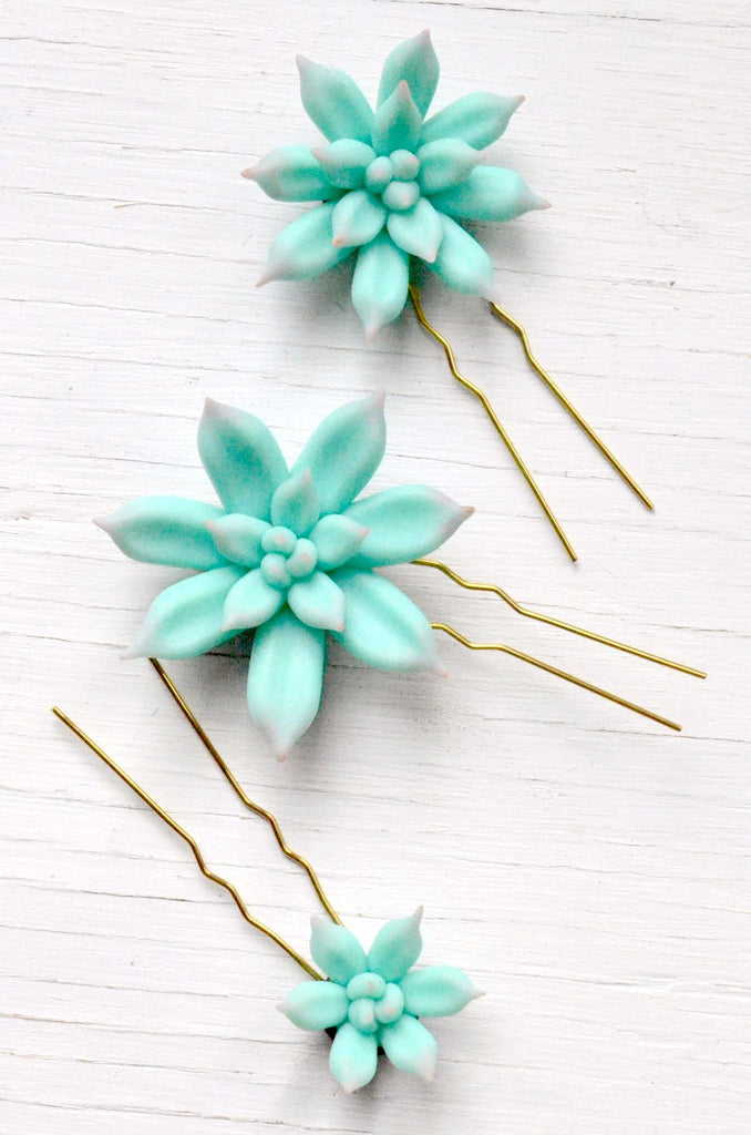 succulent hair pins polymer clay set of three