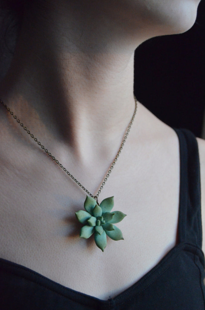 Succulent Necklace Handmade From Polymer Clay A