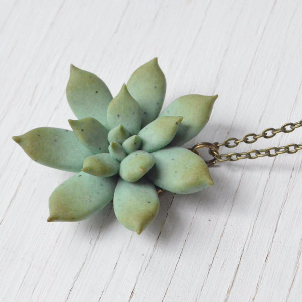 succulent pendant necklace polymer clay detailed view