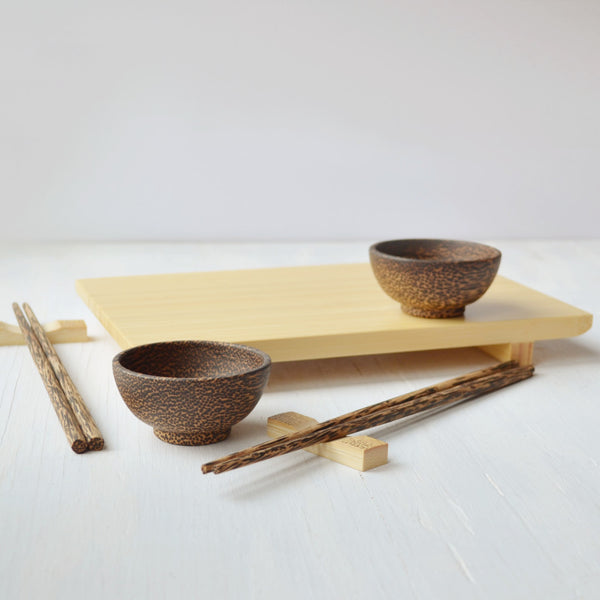 sushi gift set with chopsticks, bamboo board and palm wood bowls