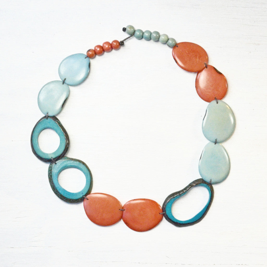 Tagua Nut Statement Necklace Coral and Aqua from Ecuador