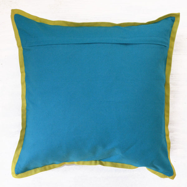 Decorative Pillows | crewel embroidery throw pillow with blue and green reverse side