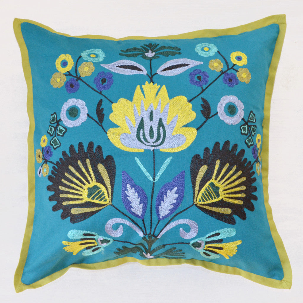Decorative Pillows | crewel embroidery throw pillow with blue and green