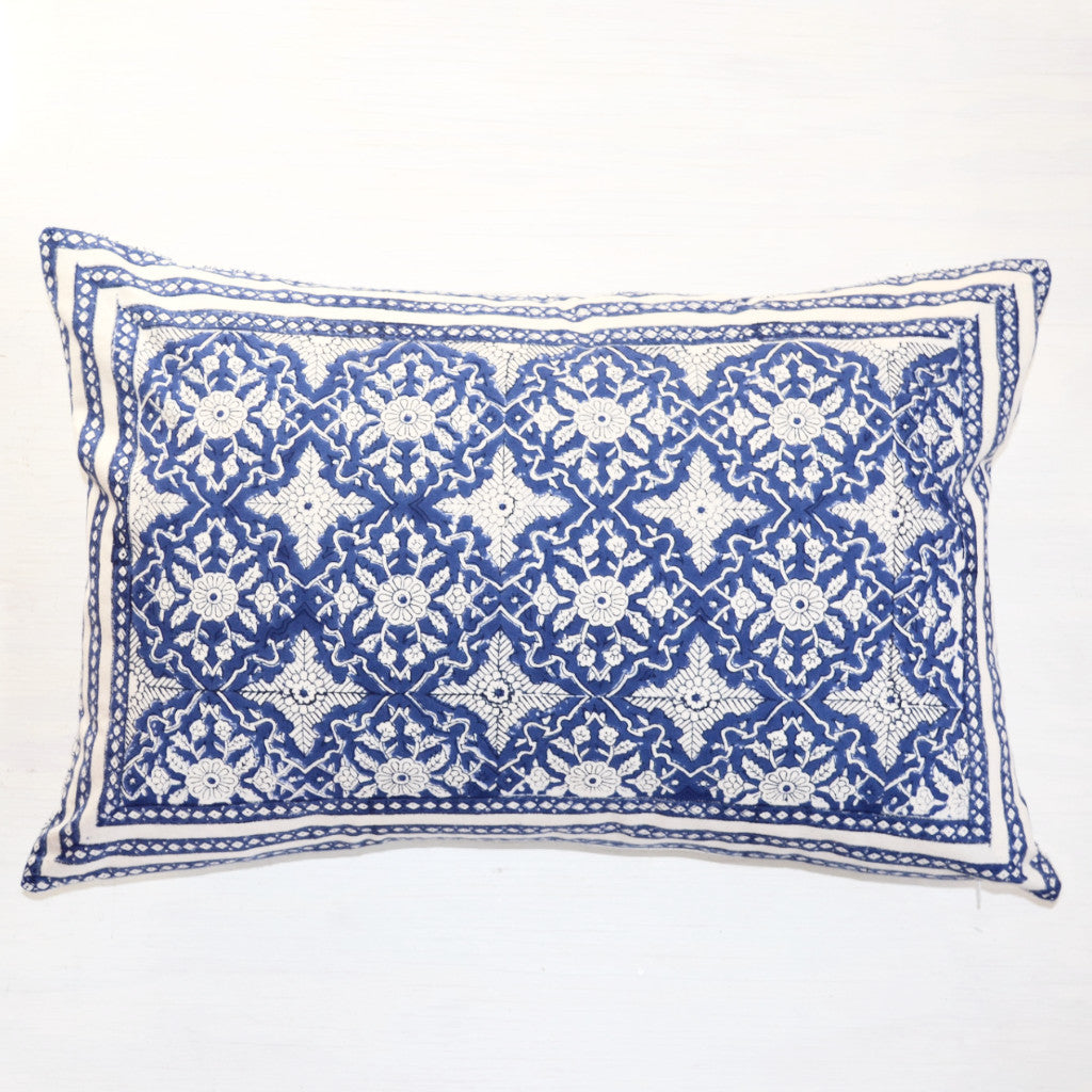 decorative pillow | blue and white hand block printed throw pillow