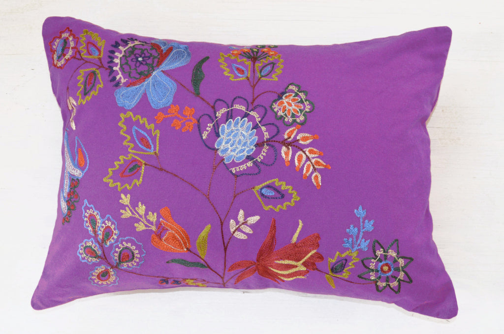 Purple Floral Embroidered Accent Pillow ? Dogwood Hill Gifts
