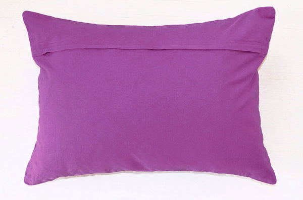 Decorative Pillows | Purple throw pillow with floral embroidery, reverse side