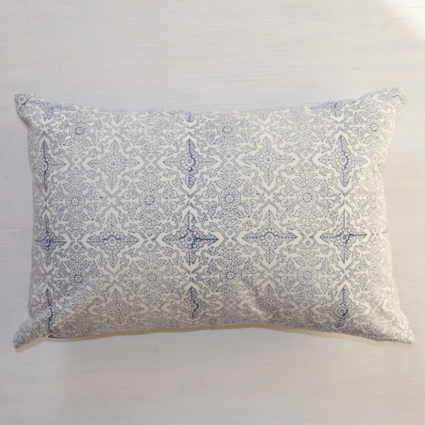 decorative pillow | blue and white hand block printed throw pillow, reverse side