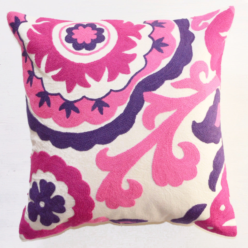 decorative pillows  pink and purple suzani embroidered throw pillow. decorative pillow  suzani embroidery pink  purple – dogwood