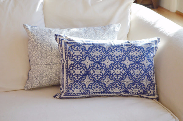 decorative pillows | blue and white hand block printed throw pillow