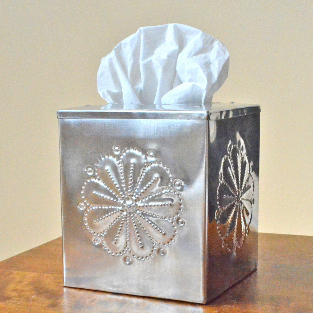 Tinwork Tissue Box Cover, Handcrafted tin tissue box cover