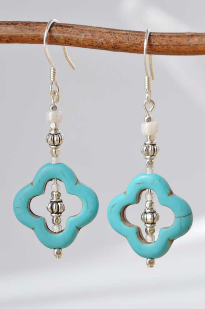 Turquoise Quatrefoil Drop Earrings