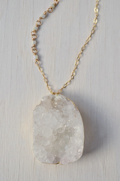 white druzy crystal pendant necklace close up image