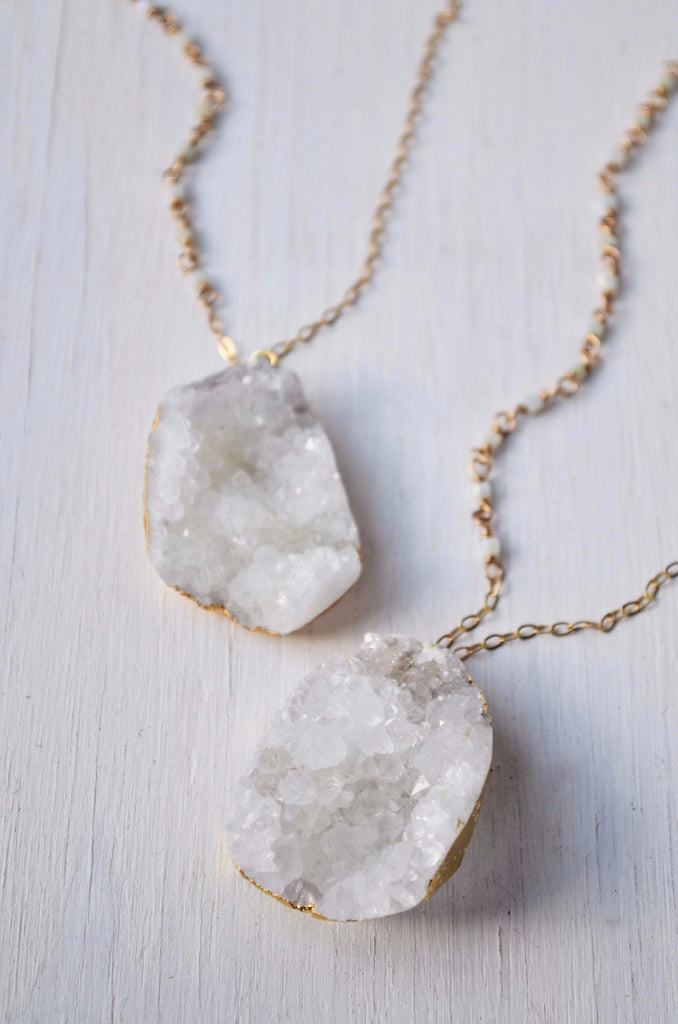 white druzy crystal pendant necklace with gold chain