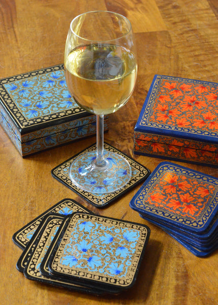 hand painted coasters,set of coasters in a box, orange or blue paper mache, shown with wine glass