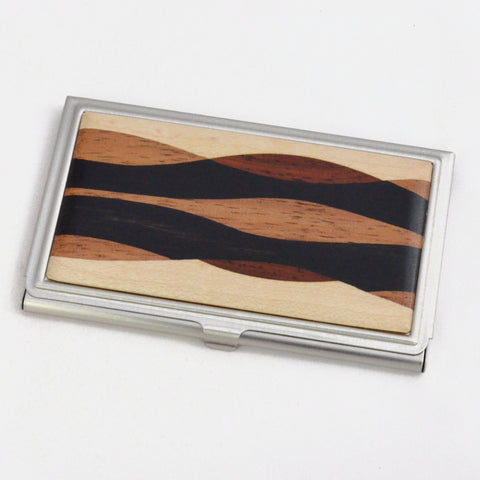 business card case, inlaid wood and brushed steel, handcrafted