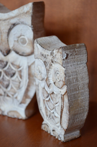 wooden owls set of 2, hand-carved, rustic owl gifts, side view