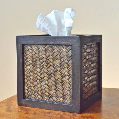 Woven Bamboo Tissue Box Cover - From Thailand, tissue box cover,bamboo