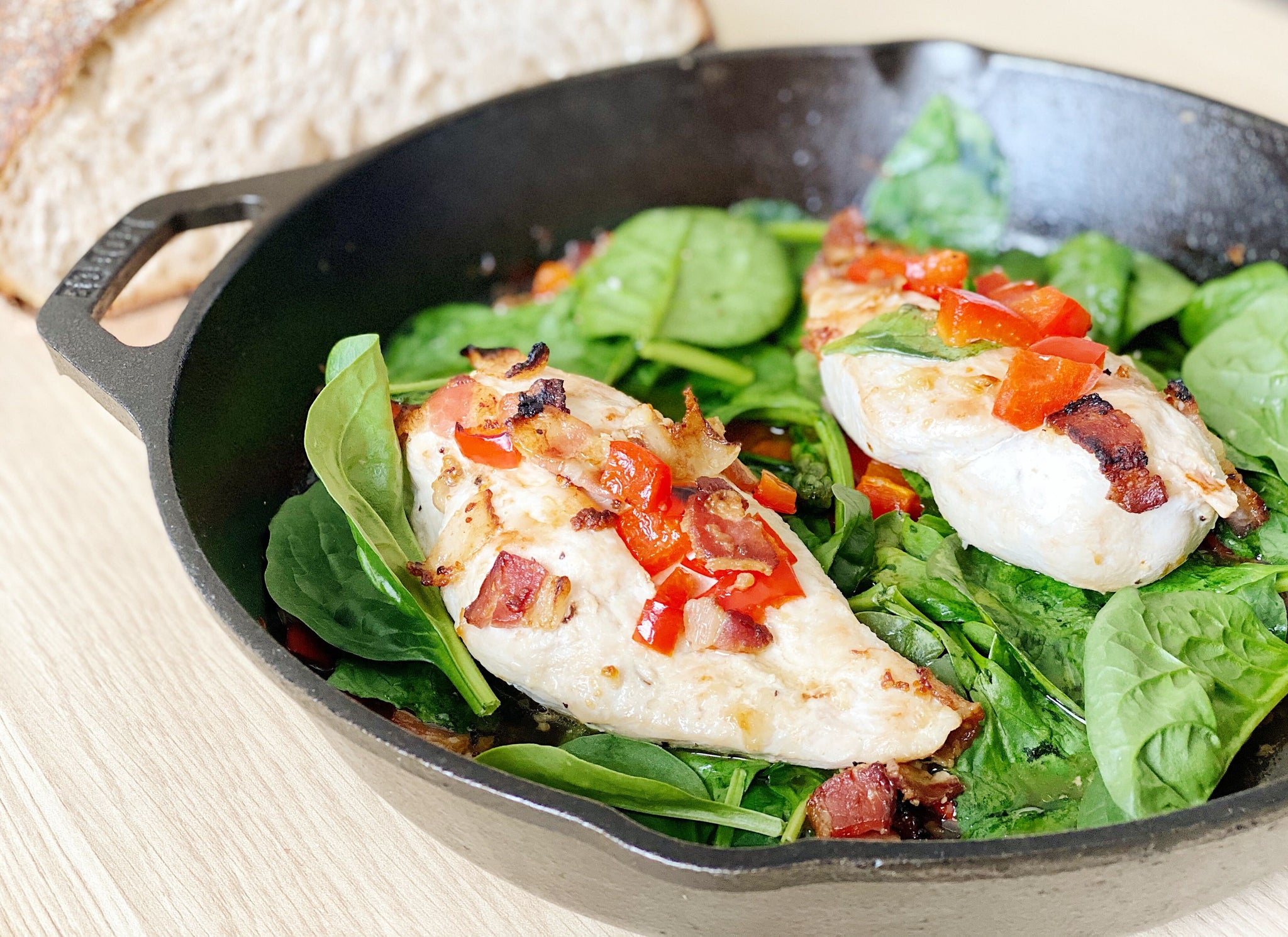 Easy Spring Chicken Spinach and Pepper