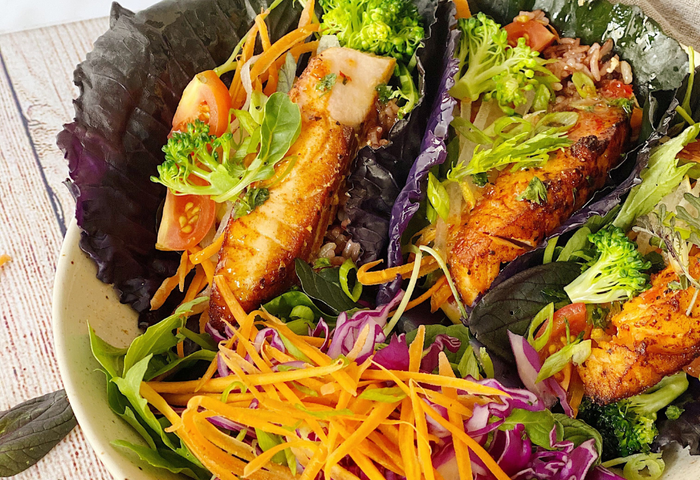 Red Cabbage Summer Rolls with Pan Seared Atlantic Wild Salmon