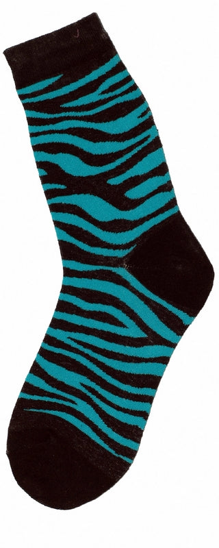 Socks with black and blue zebra stripe pattern.