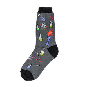 Gray and black socks with images of atoms, beakers, pipettes, and chemical structure diagrams.