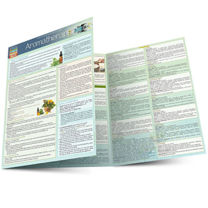 A trifold aromatherapy chart, partially folded over.