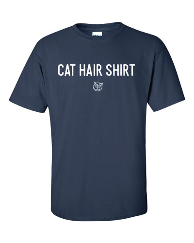 A dark blue shirt with white text reading