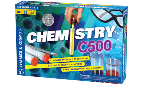 The front of a blue chemistry experiment kit.