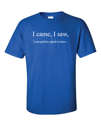 A blue t shirt with the white text