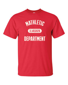 "A red t shirt with the text ""MATHLETIC DEPARTMENT"" in white."