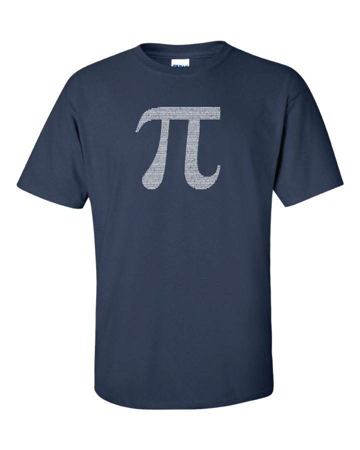 A dark blue t shirt with the numbers of pi in white making up the shape of the symbol.