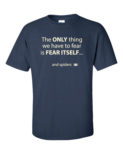Dark blue t shirt with white text.