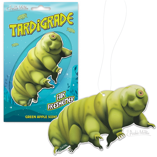 An air freshener in the shape of a tardigrade.