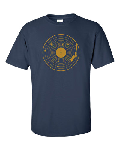 A dark blue t shirt with a vinyl record in yellow and a diagram of the solar system overlaid on the record.
