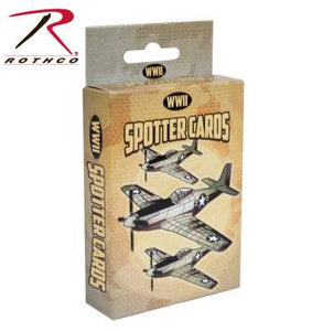 "A cardboard card box, with illustrations of WWII planes, labelled ""Spotter Cards""."