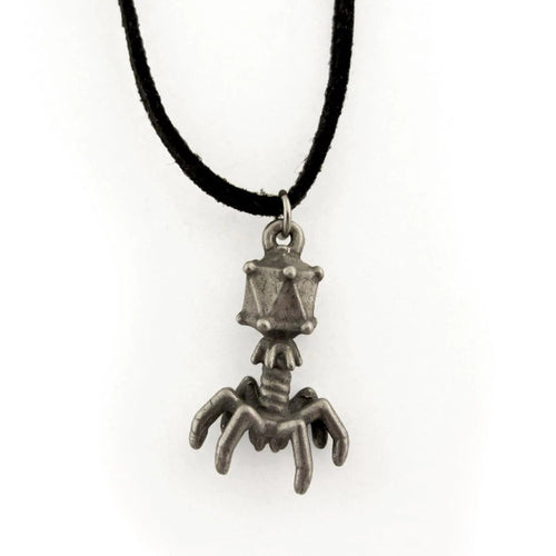 A silver bacteriophage charm on a black cord.