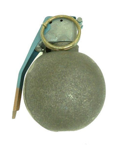 A circular gray grenade with a brass pin on a white background.
