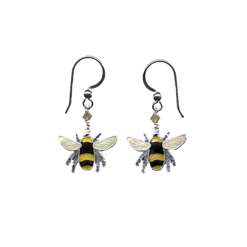 Silver and cloisonne hanging bee earrings on a transparent background. The ear wires are silver and there's a yellow crystal on the chain.