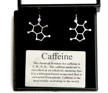 Silver earrings in the shape of a molecule of caffeine on a black background. A plaque reads