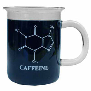 A clear glass mug filled with coffee. The chemical structure of caffeine is shown on it in white text.