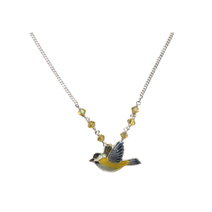 A cloisonne chickadee on silver, with a silver chain and yellow crystals.