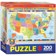 Load image into Gallery viewer, Map of the US - Jigsaw Puzzle - 200 Pieces