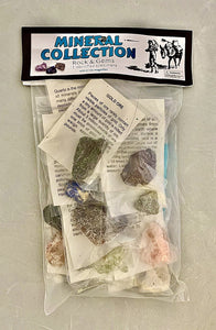"Plastic packaging with individual minerals packaged within. Labelled ""Mineral Collection""."