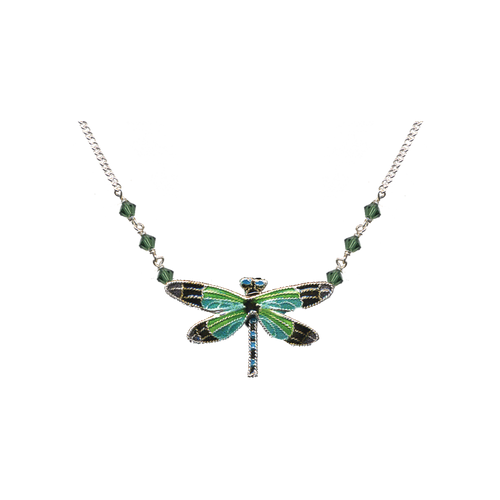 A silver, green, and blue cloisonne dragonfly necklace with green crystals and a silver chain.
